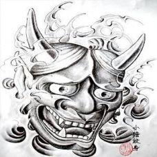 个性恐怖般若纹身素材