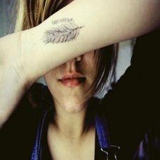 唯美清新羽毛纹身手臂之上