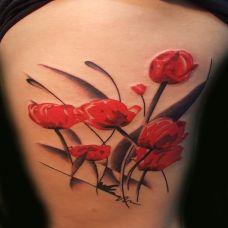 胳膊罂粟花彩绘刺青唯美图案
