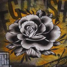 黑色手稿花蕊刺青图片