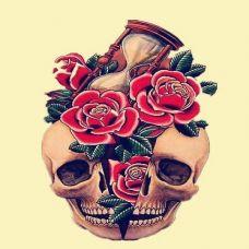 死亡玫瑰 艺术骷髅纹身素材