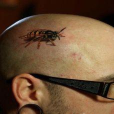 炫酷3D立体脸部蜜蜂纹身