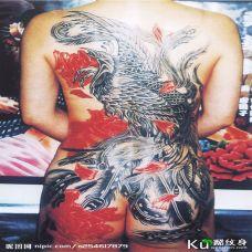 满背个性凤凰彩色纹身图案