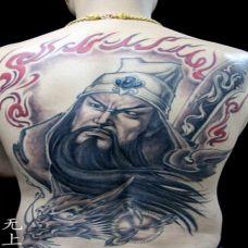 关公大刀霸气背部纹身刺青