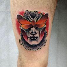 大腿个性动漫人物彩绘纹身图案