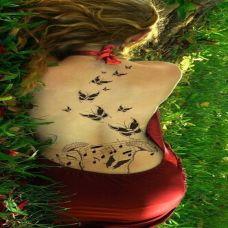 性感美女背部唯美蝴蝶刺青纹身图片