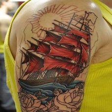 胳膊帆船彩绘纹身图案