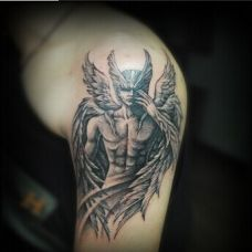 霸气男生手臂封神榜人物黑色纹身图案