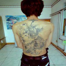 个性男纹身夜叉满背图案欣赏