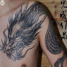 神兽麒麟肩部纹身
