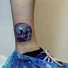 小腿创意个性图案纹身
