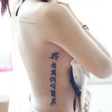 性感女生侧腰好看的藏文纹身图案