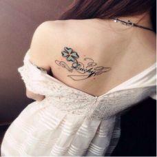 后肩四叶草彩绘纹身图案