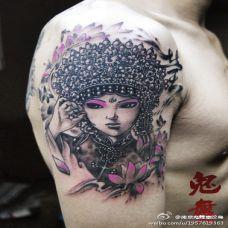 男性手臂漂亮花旦艺术纹身图片