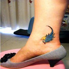 脚踝时尚唯美的翅膀纹身图案