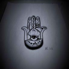 欧美抽象图腾纹身手稿