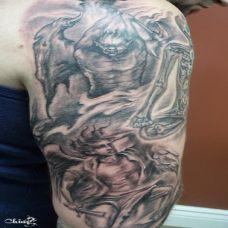 霸气男胳膊夜叉王纹身图片