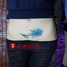 个性好看腹部彩色蓝玫瑰纹身图案