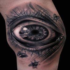 手部超逼真黑色3D眼球纹身图片