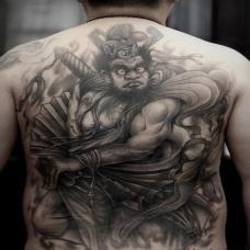 钟馗纹身满背黑色霸气图案
