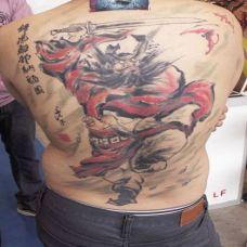 男生纹身满背钟馗抓鬼艺术图案