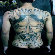 男人满背夜叉纹身 恐怖系列图片