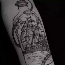 经典帆船纹身图片大全