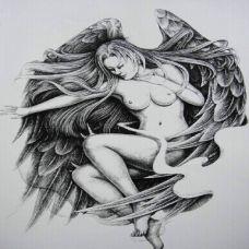 漂亮唯美的天使纹身手稿