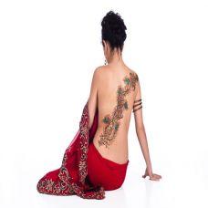 性感美女背部孔雀羽毛彩色纹身图案