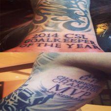 手部与脚部个性黑色英文纹身图案欣赏