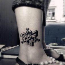 小腿时尚图案纹身