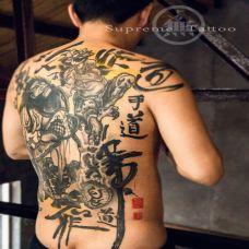 钟馗捉鬼纹身满背黑色图案欣赏