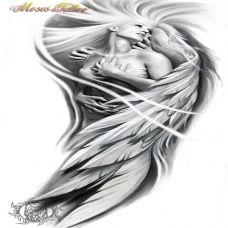 唯美个性的天使纹身手稿