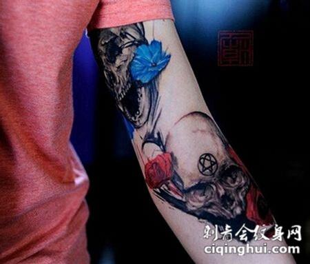 手臂骷髅头纹身图案
