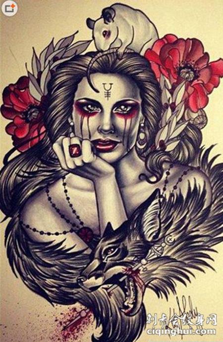 欧美另类美女纹身图案