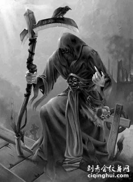 死神猎手霸气纹身图案素材(图片编号:43573)_纹身手稿