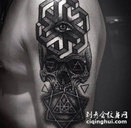 手臂黑白创意骷髅纹身
