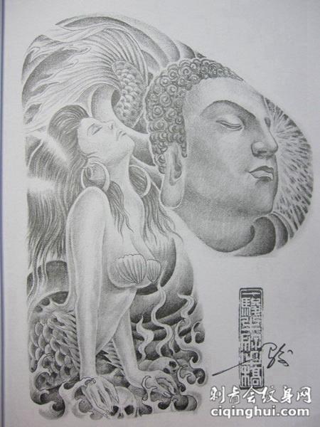 神情谈定的佛祖纹身素材