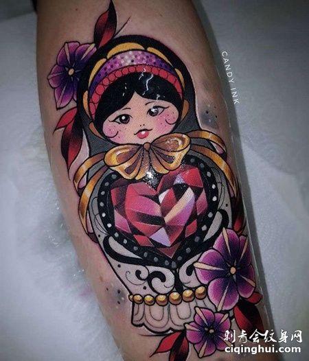 New School小腿娃娃宝石纹身图案