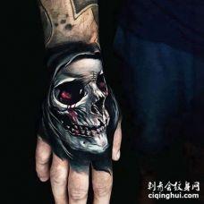 写实手背骷髅纹身图案