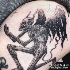 点刺大臂恶魔纹身图案