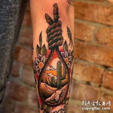 New School小臂绳索纹身图案