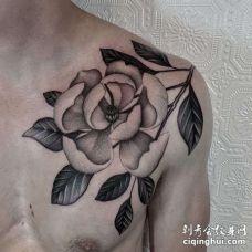 点线锁骨花卉纹身图案