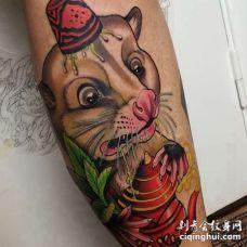 New School小臂老鼠纹身图案