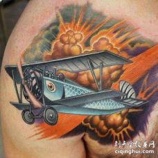 New School锁骨飞机纹身图案