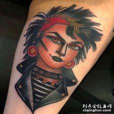 Old School大臂女人纹身图案