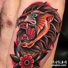 Old School大臂狮子纹身图案