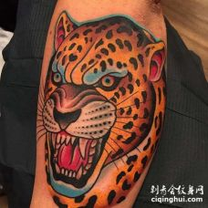 Old School小臂豹子纹身图案
