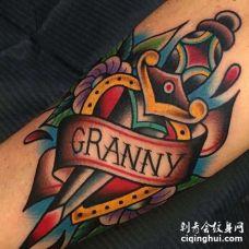 Old School小腿匕首纹身图案