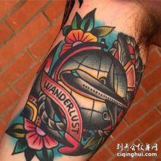 Old School大臂飞机纹身图案